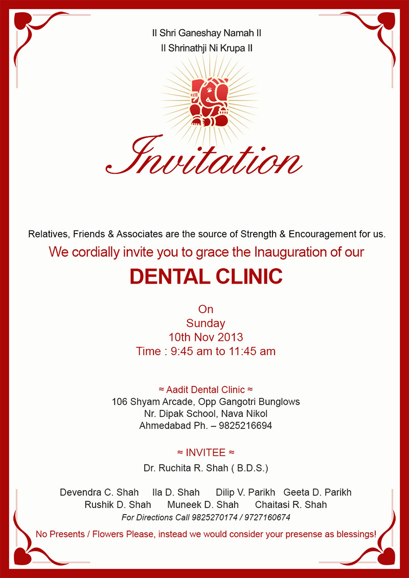 dental clinic opening invitation card sample | Infoinvitation.co